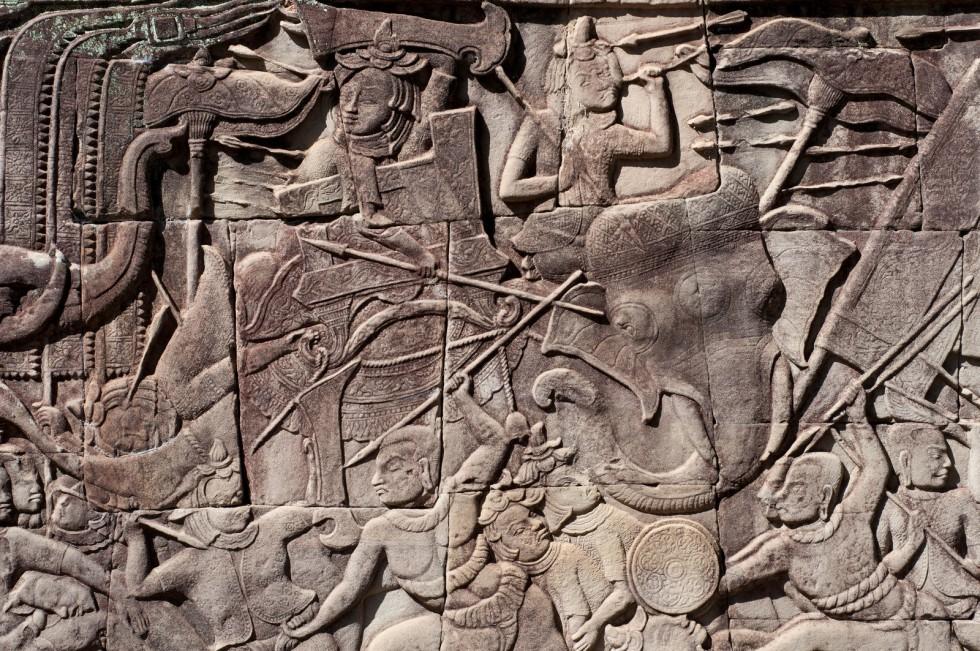 Bas relief du temple khmer de Bayon. Cité d'Angkor, Siem Reap, Cambodge